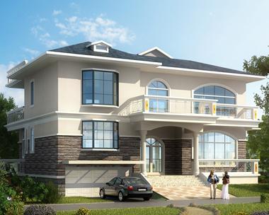 AS043定制设计私人二层带车库别墅外观案例图欣赏