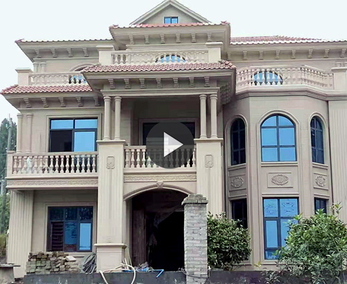 【带视频案例】AT1817邵阳刘女士自建三层欧式别墅施工实拍