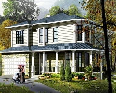639坡地二层农村小别墅设计图纸17m×18m