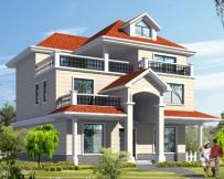 【永云别墅】AT928漂亮三层红顶带露台别墅设计施工图纸12m×11m