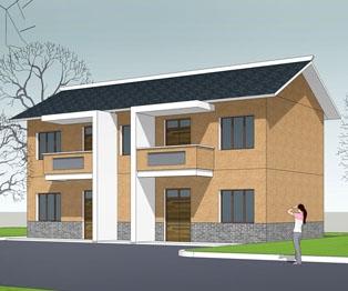 [永云别墅]AT167新农村现代简洁二层双拼别墅全套设计图纸15m×9m