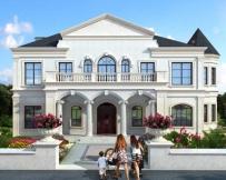 永云别墅AT1736二层法式风情复式别墅建筑设计图纸19.4mx11.8m