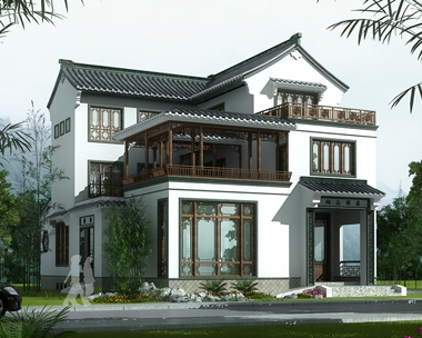 AT1769三层中式合院复古风格带内庭院别墅设计图纸13.2mX16.8m