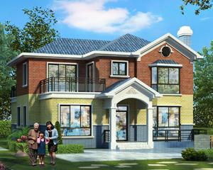 永云别墅AT1662二层新农村自建漂亮别墅施工图纸设计12.7mX13.7m
