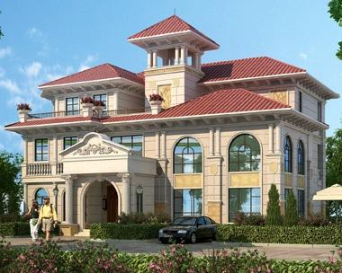 【带装修】AT1813豪华欧式三层复式客厅挂石材别墅设计图纸20X18m