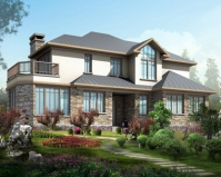 AT1833美式风格坡地二层复式带地下室别墅设计图纸18.8mX17m