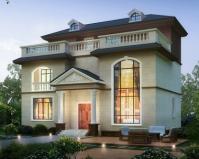 AT1853新款简约风格三层复式带休闲露台别墅设计图纸13.6mX9.5m