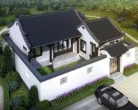 AT1896一层带庭院新中式古典风格乡村小别墅设计施工图纸13mX14m