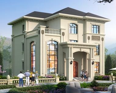 新款AT1906欧式沉稳大气豪华三层复式楼别墅设计施工图纸13mX13.6m