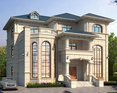 AT1927欧式豪华大气三层复式楼别墅建筑设计施工图纸15.8mX15.6m