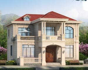 AT1917现代新农村简欧二层带走廊精致别墅设计施工图纸12.5mX13.5m