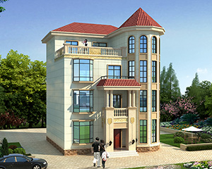 AT1780私人定制简欧四层复式楼漂亮别墅设计图纸10.8mX12.3m