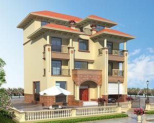 永云别墅AT1657私人四层欧式带车库别墅设计施工图纸13.6mx12.9m