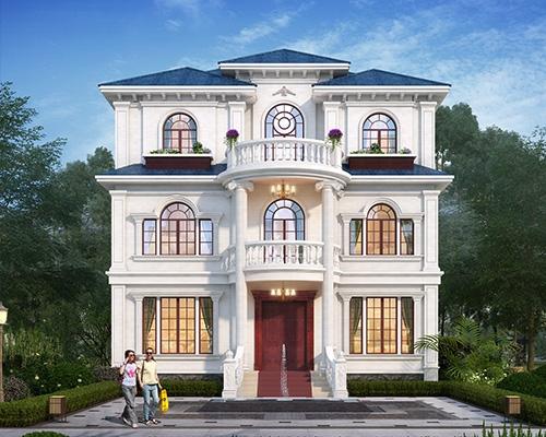 AT1947简欧风格浪漫唯美挑高客厅三层花园别墅全套图纸11.4mX10.5m