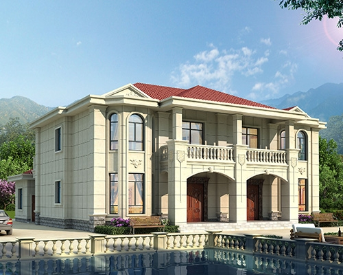 AT1941新农村自建简约大方二层带附房双拼别墅全套施工图纸18.6mX20.6m