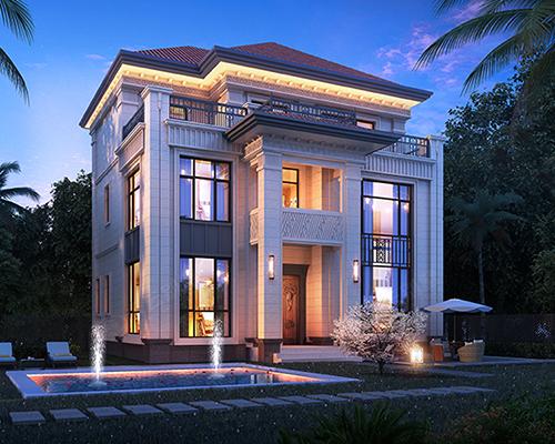 品质乡别墅AT2802精致奢华三层复式楼中楼别墅全套设计图纸13.1mX11.2m