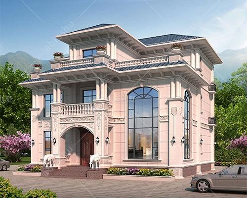 欧式风情/AT2805三层新款/挑高客厅豪华大气别墅效果图及全套施工图