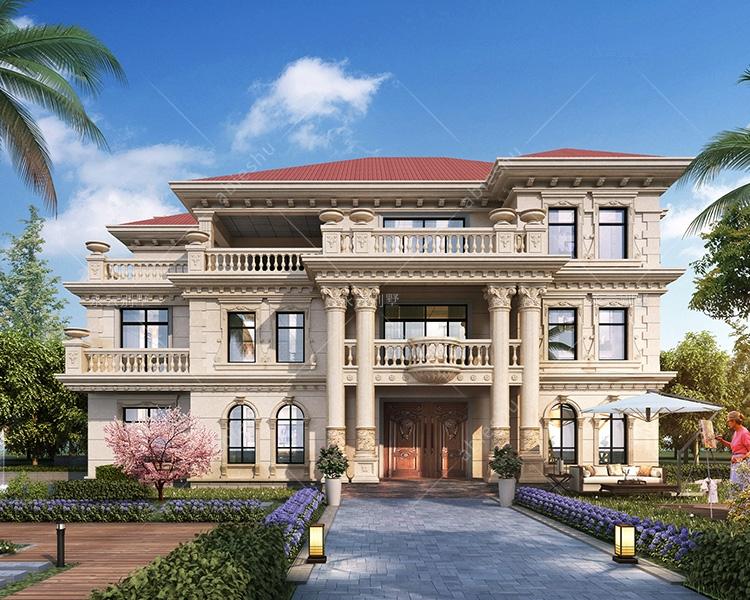 AT2811欧式风格带传统堂屋三层高端大气别墅设计图纸21mX15.3m
