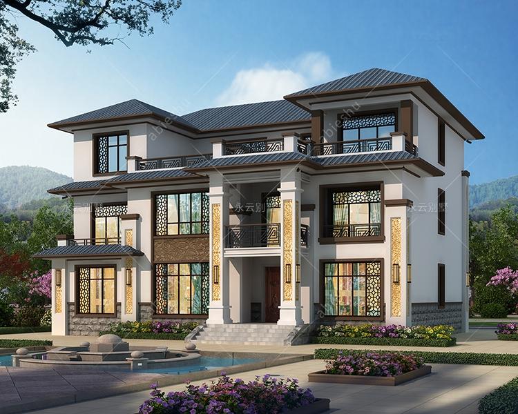 新中式风格四间三层中间设大露台复式楼别墅设计案例