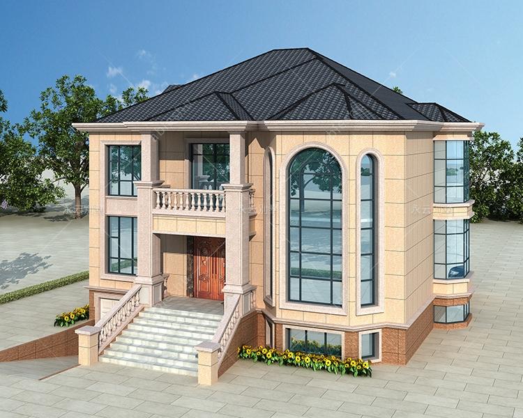 AT2817二层带地下室车库简约风复式楼别墅设计图纸14.3mX13.6m