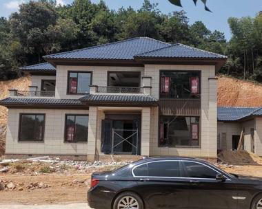株洲市宾总二层新中式别墅建筑施工案例图欣赏