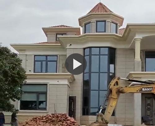 【实拍视频】长沙县伍先生兄弟双拼联系二层别墅工程安例