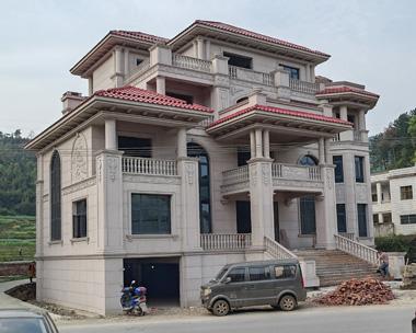 湖南双峰县张总石材干挂四层带地下室欧式高端别墅施工图欣赏