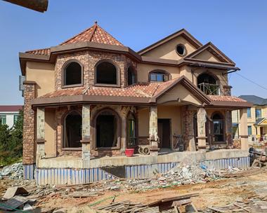 二层美式风格占地248平米实建别墅施工案例图欣赏
