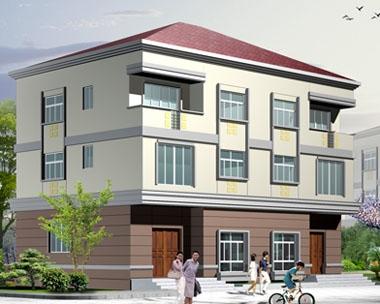 612三层新农村生态双拼别墅设计8m×14m