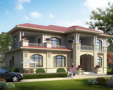永云别墅AT1743豪华大气二层带堂屋别墅设计图纸16.2mx10.8m