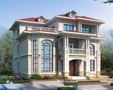 AT1922豪华欧式风格三层复式楼别墅设计全套施工图纸14.3mX16.1m