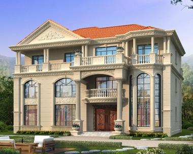 四间三层带堂屋AT1935复式楼别墅设计全套施工图纸19.8mX15m