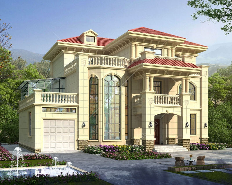 AT2803带车库欧式弧形楼梯三层复式楼别墅设计图纸16.9mX14.2m